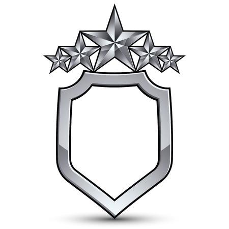 Festive emblem with silver outline and five pentagonal stars, 3d royal conceptual design element Illustration