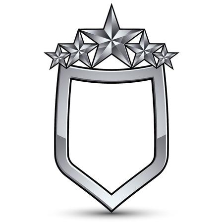 glistening: Festive emblem with silver outline and five pentagonal stars, 3d royal conceptual design element Illustration