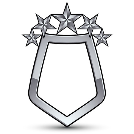 Festive emblem with silver outline and five decorative pentagonal stars, 3d royal conceptual design element