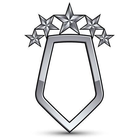 pentagonal: Festive emblem with silver outline and five decorative pentagonal stars, 3d royal conceptual design element