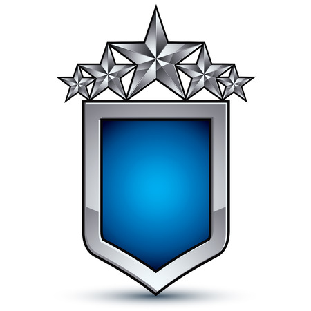 five stars: Majestic blue emblem with five silver decorative pentagonal stars, 3d royal conceptual design element