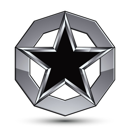 BRANDED: Branded silvery rounded geometric symbol, stylized pentagonal black star placed in a silver ring