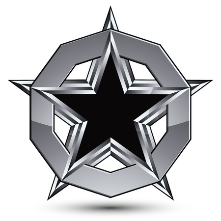 silvery: Branded silvery rounded geometric symbol, stylized pentagonal black star placed in a silver ring