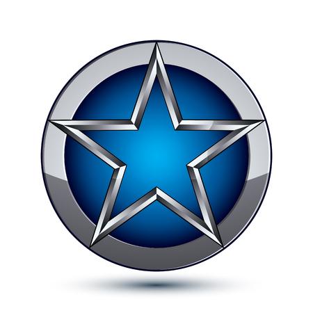 estrella azul: Celebrativo s�mbolo geom�trico glamour, estilizado estrella azul pentagonal colocado sobre una superficie de plata redonda Vectores