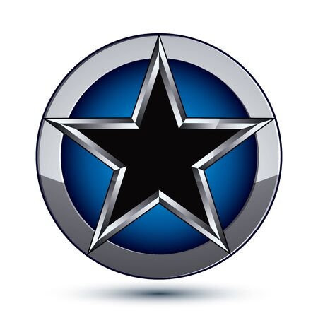 silvery: Festive silvery rounded geometric symbol, stylized pentagonal black