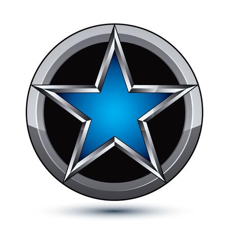 silvery: Festive silvery rounded geometric symbol, stylized pentagonal blue