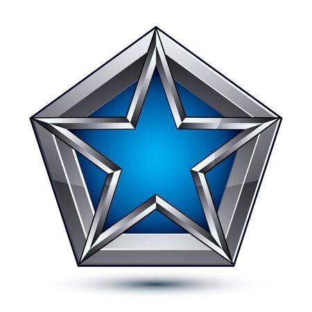 silvery: Silvery blazon with pentagonal blue star