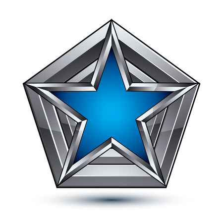 awarded: Silvery blazon with pentagonal blue star