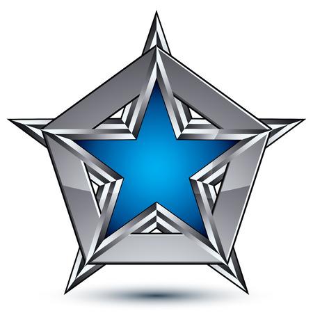 estrella azul: Blas�n plateado con pentagonal estrella azul Vectores