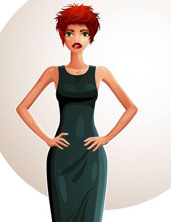 frau ganzk�rper: Kokette wei�-Haut Frau mit ihren H�nden auf einem Taille, Ganzk�rper-Portrait