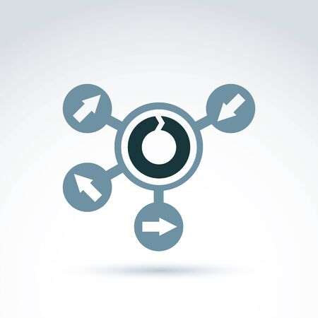 multidirectional: Loop icon, reload gray symbol placed on a circle. Multidirectional connected arrows, link business sign