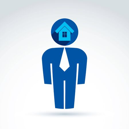 estate agent: Silhouette of person standing in front - illustration of a real estate agent
