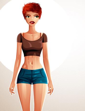 fullbody: Se�ora bonita joven en una ropa deportiva con corte de pelo mujer moderna