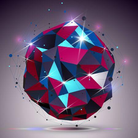 abstrakce: Kreativní asymetrické leštěný objekt s linkami ok. 3d barevné lesklý komplikované inženýrství abstrakce s osvětlením účinkem Ilustrace