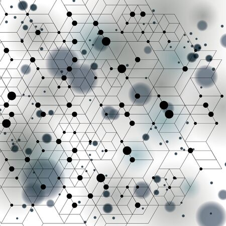 smudge: Black and white lace design backdrop, abstract futuristic stylish blur background with smudge spots and polygonal transparent figures