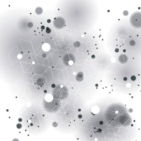complicated: 3d spatial lattice covering, complicated op art background with smudge dots and geometric shapes Illustration