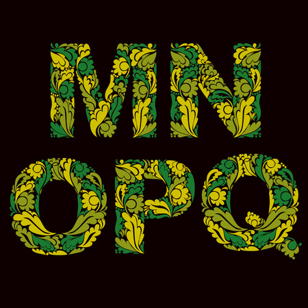 drop cap: Ornamental typescript, M, N, O,P, Q letters decorated with herbal pattern isolated. Illustration