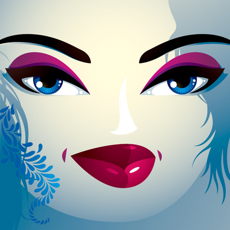 countenance: Coquette woman eyes and lips, stylish makeup and hairdo. People facial emotions. Illustration