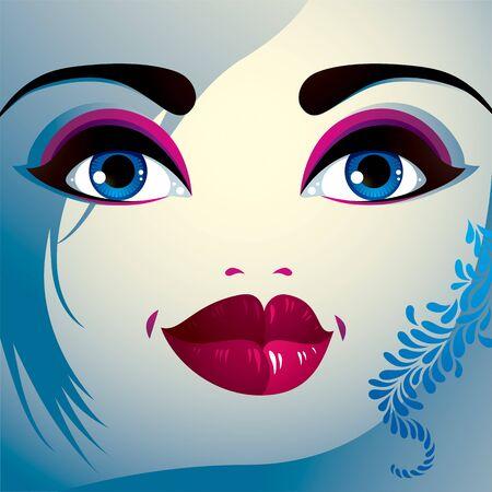 belle dame: Parties du visage d'une belle jeune femme avec un brillant maquillage, les l�vres, yeux et des sourcils