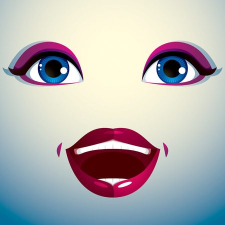 countenance: Glad smiling woman eyes and lips, stylish makeup. People positive facial emotions, happiness. Illustration