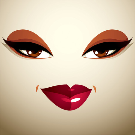 tricky: Attractive woman with stylish bright make-up. Caucasian tricky lady Illustration