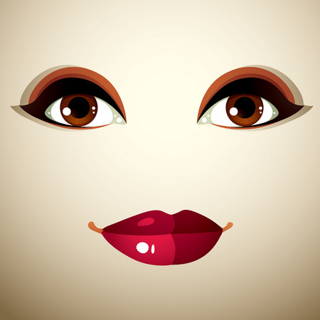 the caucasian: Attractive woman with stylish bright make-up. Caucasian sad lady Illustration