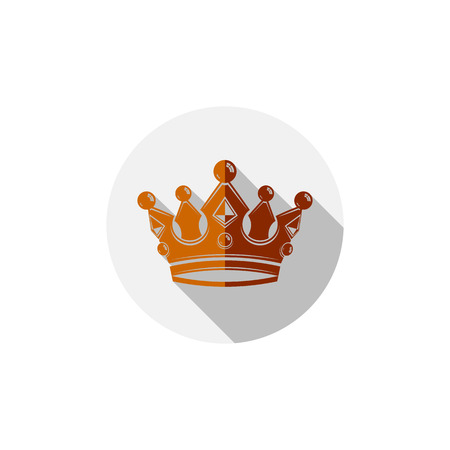 coronet: Decorative imperial 3d icon isolated on white. Golden king crown placed in a circle Illustration