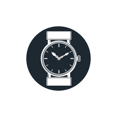 hour hand: Graphic pocket watch illustration. Wristwatch with dial and an hour hand Illustration