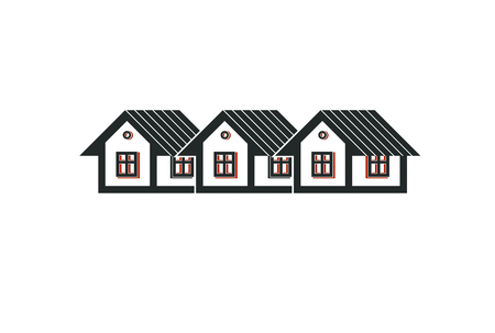 homely: Simple cottages illustration, country houses