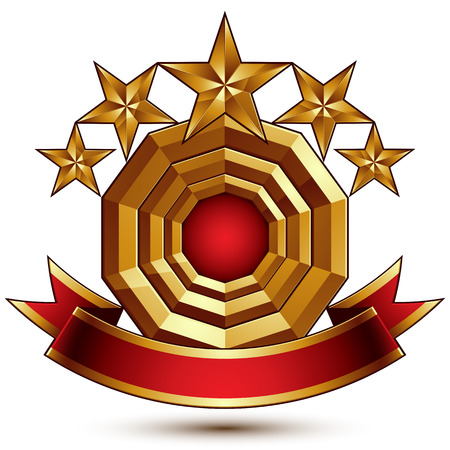 3d classic royal symbol with sophisticated five golden stars and red decorative wavy ribbon, glossy golden element isolated on white background Illustration