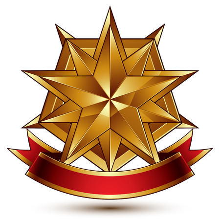 blazon: complicated glossy design element, luxury 3d polygonal golden star placed on a decorative blazon, conceptual graphic coat of arms with wavy red ribbon Illustration