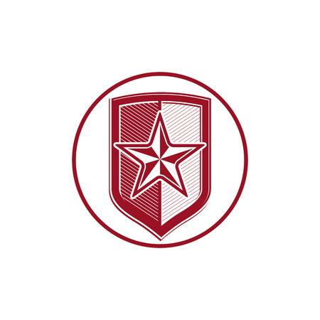 blazon: Military shield with pentagonal comet star, protection heraldic sheriff blazon