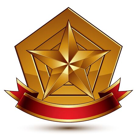 glorious: glorious glossy design element, luxury 3d pentagonal golden star placed on a decorative blazon Illustration