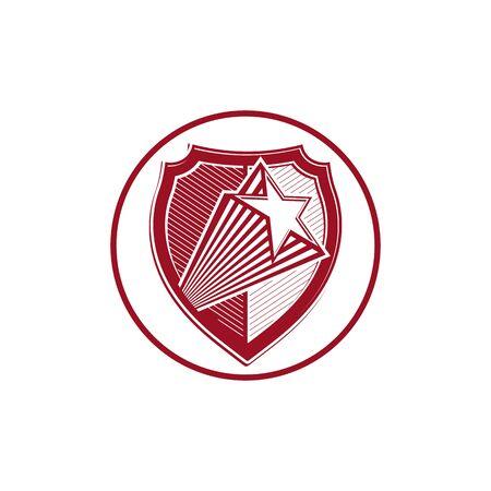 military shield: Military shield with pentagonal comet star, protection heraldic sheriff blazon