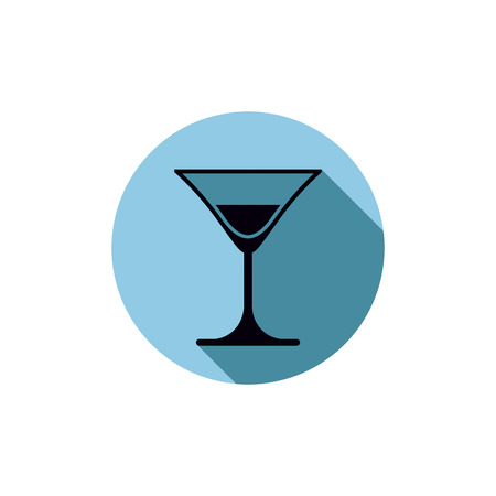 half full: Classic half full martini glass, alcohol and entertainment theme illustration