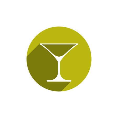 bocal: Alcohol beverage theme icon, classic martini glass placed in circle