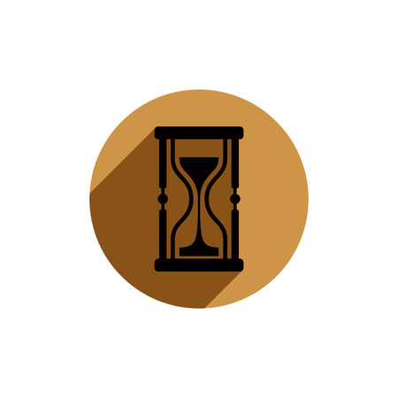 interim: Classic sand-glass illustration, antique hourglass placed in a circle Illustration