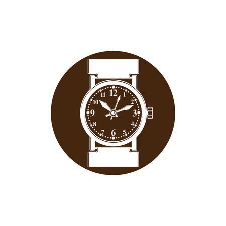 hour hand: Graphic pocket watch illustration. Wristwatch with dial and an hour hand Illustration