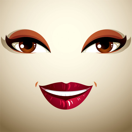 glad: Coquette glad smiling woman eyes and lips, stylish makeup Illustration