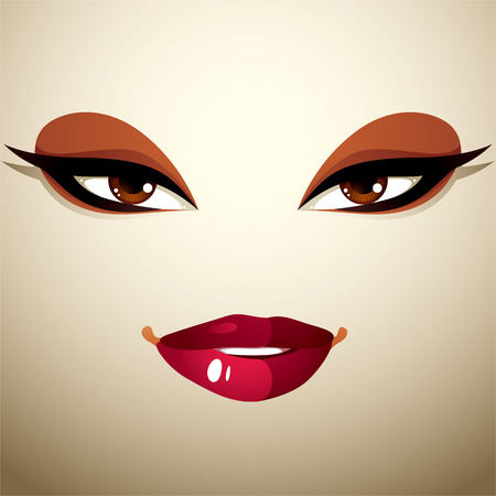 thorny: Face makeup, lips and eyes of an attractive woman displaying passion.