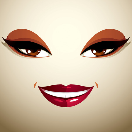 countenance: Coquette glad smiling woman eyes and lips, stylish makeup Illustration