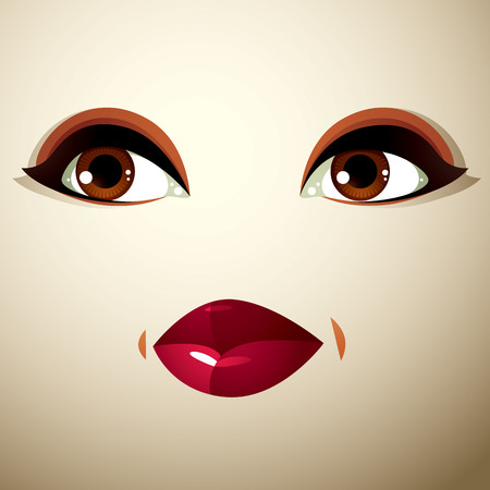countenance: Attractive woman with stylish bright make-up.