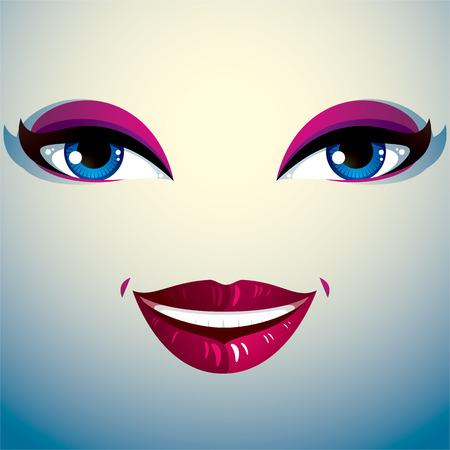 belle dame: Parties du visage d'une belle jeune femme avec un brillant maquillage, les l�vres et les yeux