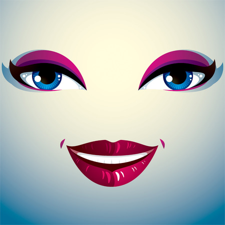 physiognomy: Parts of the face of a young beautiful lady with a bright make-up, lips and eyes Illustration