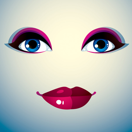 countenance: Human eyes and lips reflecting a facial expression, doubt. Illustration