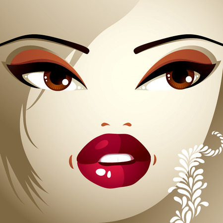 eyebrows: Lips, eyes and eyebrows of an attractive woman displaying surprise and shock
