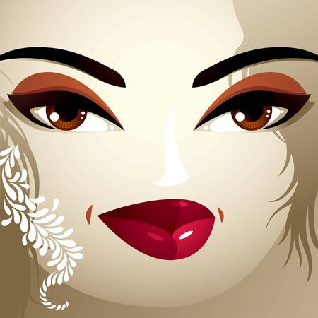 tricky: Beautiful tricky woman with a modern makeup and stylish hairdo with locks.