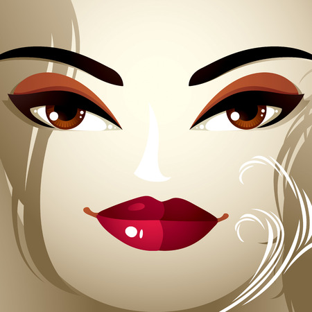 eyebrows: Lips, eyes and eyebrows of an attractive woman displaying doubt