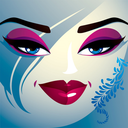 hairdo: Coquette woman eyes and lips, stylish makeup and hairdo Illustration