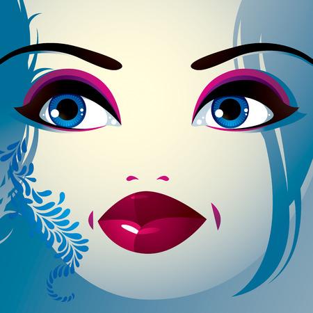 coquete: Coquette senhora visage, expressivos humanos olhos, l�bios e fechaduras.